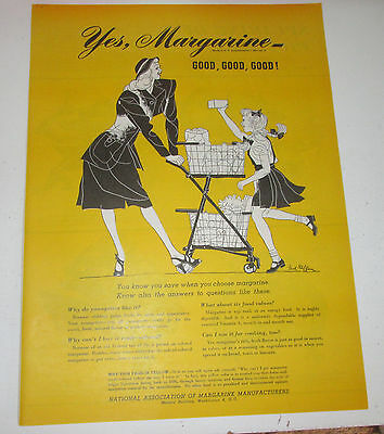 1947 original ad Margarine Manufacturers Mother & Daughter Grocery Shopping
