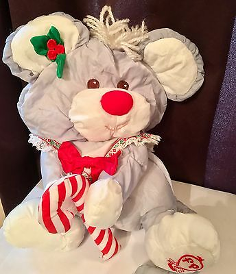 Fisher Price Gray Christmas Mouse Puffalump w/ Candy Cane #8016 Plush Doll 1987
