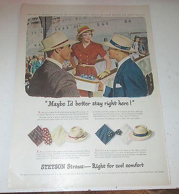 1947 original ad Stetson Straw Hats Pretty Lady Receives Gift at Airport