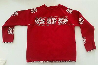 Christmas Party HANNA ANDERSSON Red Snow Sweater 10 12 Euro 140 boys/ girls