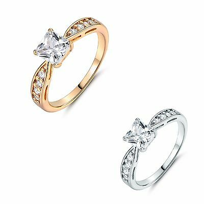 Radiant white Topaz Solitaire with Accents Eternity Wedding Promising Ring Sz5-9
