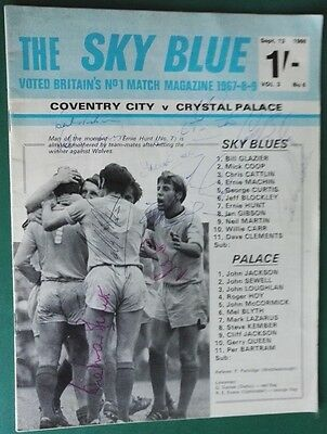 1969-70 COVENTRY CITY vs. CRYSTAL PALACE SIGNED PROGRAMME x 10 CCFC PLAYERS.
