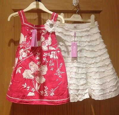 Monsoon Girls Summer Sequin Top & Skirt Outfit 3-4 Years. BNWT