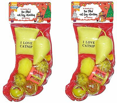 2 X Good Girl Christmas Festive Cat Kitten Toy Stocking Gift 10520 Colour Vaires