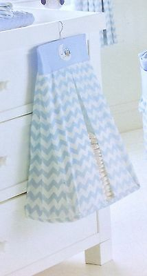 Nursery Baby Boy Nappy Stacker Pale Blue White Embroidered Owl Moon Appliqué