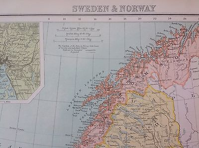 c.1900's ANTIQUE MAP SWEDEN & NORWAY MAP FROM THE CITIZENS ATLAS