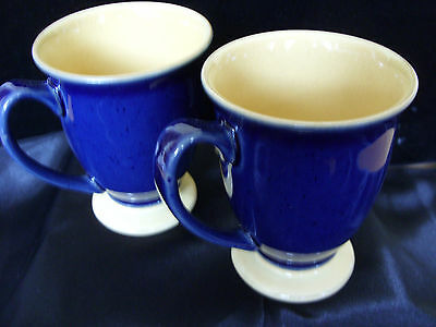3 Denby  Footed Mug ~ Musterd and Blue ~ Seconds
