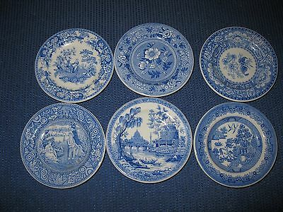 SET OF SIX SPODE Miniature Blue Room Collection  8cm Plates X 6
