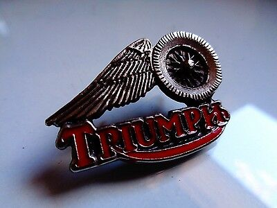 Vintage Triumph Motorcycle Pin Classic Factory Winged Wheel Dealership Badge