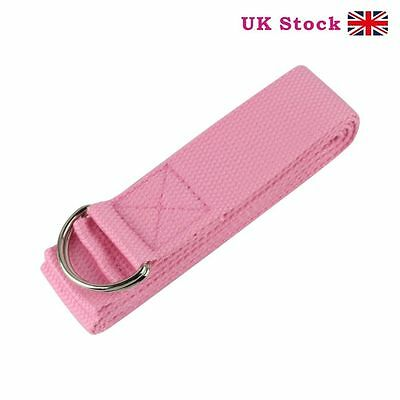 PINK D-Ring Cotton Yoga Stretch Strap Training Belt Waist Fitness Exercise Gym