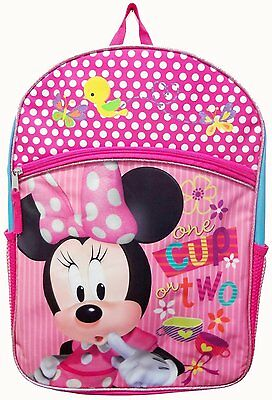 "Disney Minnie Mouse Girls Backpack 16"" Large Pink School Book Bag"