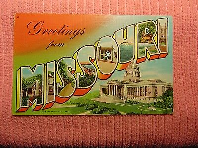 Greetings from Missouri Large Letter Postcard