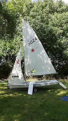 Laser 2 Sailing Dinghy with launching trolley and road trailer