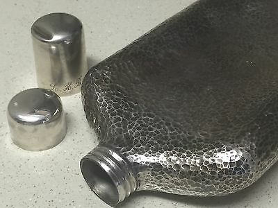 STUNNING HAMMERED SOLID SILVER CHINESE EXPORT HIP FLASK 9.9oz 281g