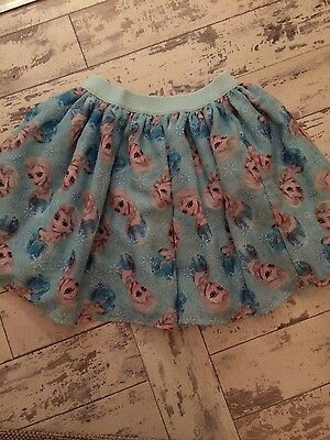 H&m Girls Frozen Disney Skirt age 7-8 years bnwt new Blue snowflakes