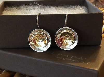 Silpada Earrings W1367 .925 Sterling Silver Hammered & 14K Gold Plated Discs