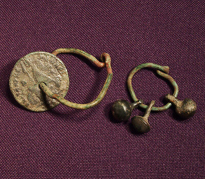 Two Roman or Celtic bronze earring and pendant