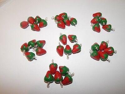 35 x Handmade Polymer Clay Strawberry Strawberries Charms Pendant