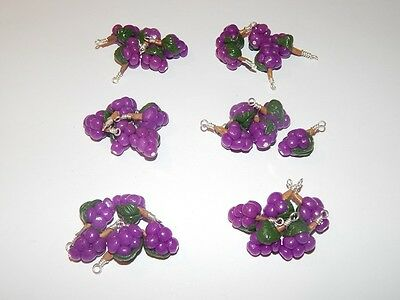 30 x Handmade Polymer Clay Grape Punnet Bunches Charms Pendant