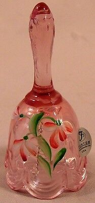 Fenton Pink Bows & Ribbons Hand Painted Floral Glass Bell Signed B.