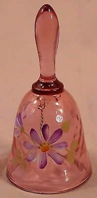Fenton Amethyst  Pink Hand Painted Floral Glass Bell Signed
