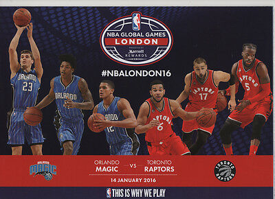 2015/16 Orlando Magic Vs Toronto Raptors NBA Global Games Programme: Basketball