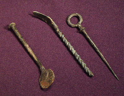 Lot of 3 Roman bronze Medical or Cosmetical tool