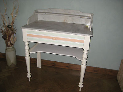 Vintage French Marble Topped Washstand ~ Painted Shabby Chic