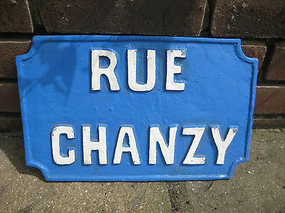 Vintage French Cast Iron Street Name Sign 'rue Chanzy' Paris