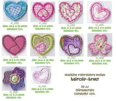 COMBO HAIRCLIP 3D FLOWER HEART STAR for MACHINE EMBROIDERY DESIGN, FAST EMAIL