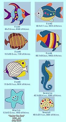 FISH & SEA CREATURE for MACHINE EMBROIDERY DESIGN, FAST EMAIL