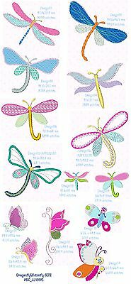 "Set 2 ""Butterfly & Dragonfly"" Machine Embroidery Design, Fast & Free P/p Email"
