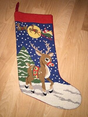 Vintage Needlepoint Christmas Stocking Rudolph The Red Nosed Reindeer