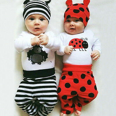 3pcs Baby Boys Girls Kids Newborn Hat+Romper+Pants Trousers Outfit Clothing Sets