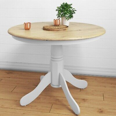 Round Wooden Dining Table in White/Natural – 4 Seater