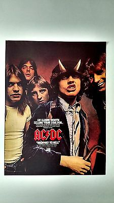 """Ac/dc """"highway To Hell"""" 1979, Rare Original Print Promo Poster Ad"""