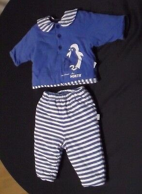 Rare Vintage Lolly-Pop size 62 Outfit Penguins North Blue White Boys 3 -6 months