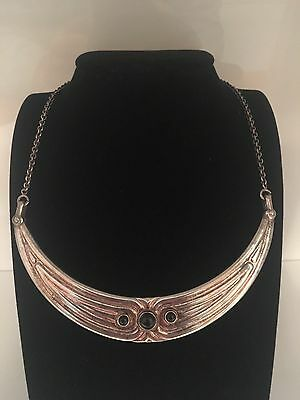 Vintage sterling silver Italy necklace onyx!!!