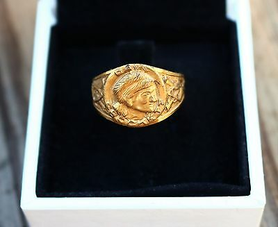 Davy Grockett stamped man face old size 8 adjustable gold tone RING