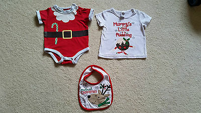 Unisex Baby CHRISTMAS Outfit Set Romper Shirt Bib Size 0 Boy Girl Costume First