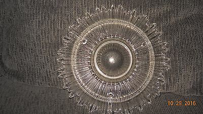 VINTAGE ART DECO STARBURST SUNBURST 3 chain LIGHT FIXTURE GLASS SHADE Chandelier