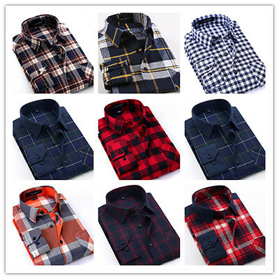 Fashion Mens Long Sleeve Casual Shirts Slim Fit Flannel Plaid Shirt Top Blouse