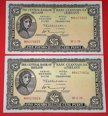 Ireland  1975 (82A)  Pair Of  Lady Lavery £5  Pound  Crisp  Exf/au  Banknote's