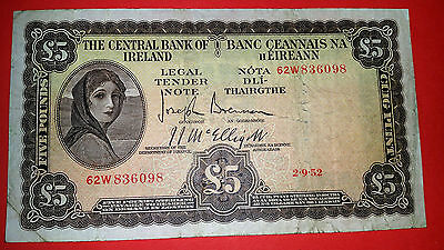 Ireland Beautiful Rare  Old  1952 (62W) Lady Lavery  £5 Pound Crisp  Vf Banknote