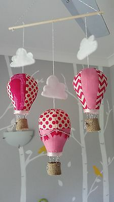 Baby mobile for childs nursery - Hot Air Balloons Hot Pink