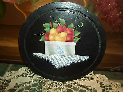 Country Wall Plaque Folk Art Wood Fruit In Old Crock On Table Oil Paint Signed