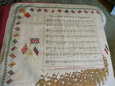 WW I Cotton Large Handkerchief It's a long, long, way to Tipperary United Kingdo