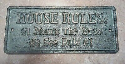 New Cast Iron House Rules Nautical Bronze Plaque