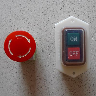 On Off Start Stop Push Button Switch Waterproof 380V/10A + Emergency Stop Button