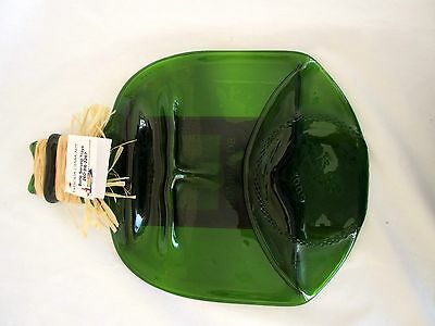 Taylors Glass Art Flattened Wine Bottle Cheese Platter Plate Serving Tray